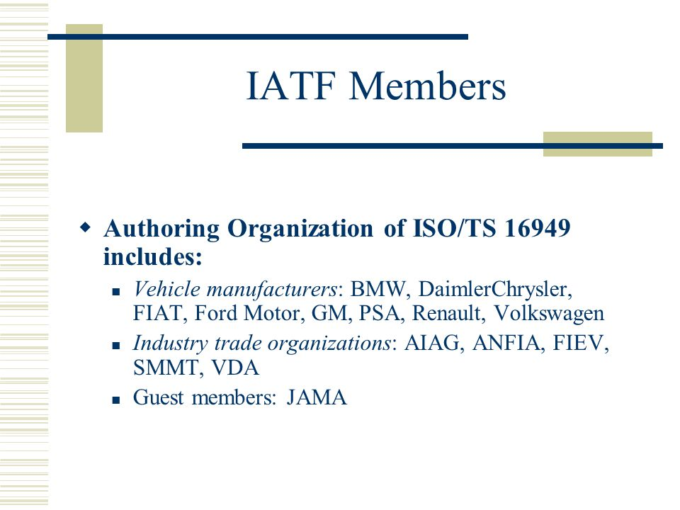 Iso ts 16949 ppt video online download for National motor vehicle license organization