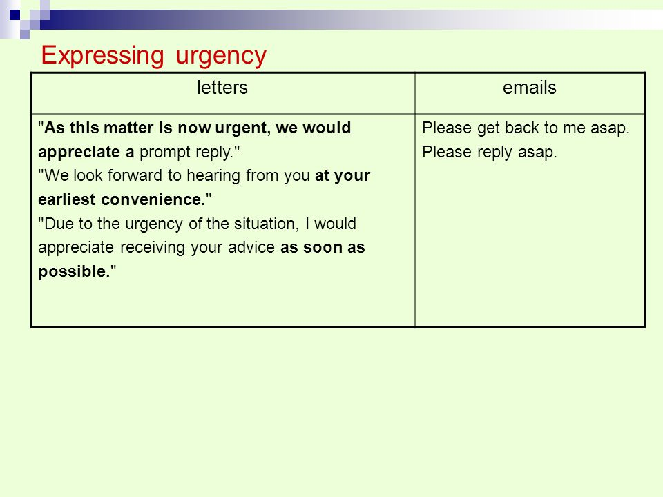 Expressing urgency letters emails
