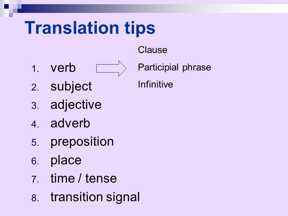 Translation tips verb subject adjective adverb preposition place