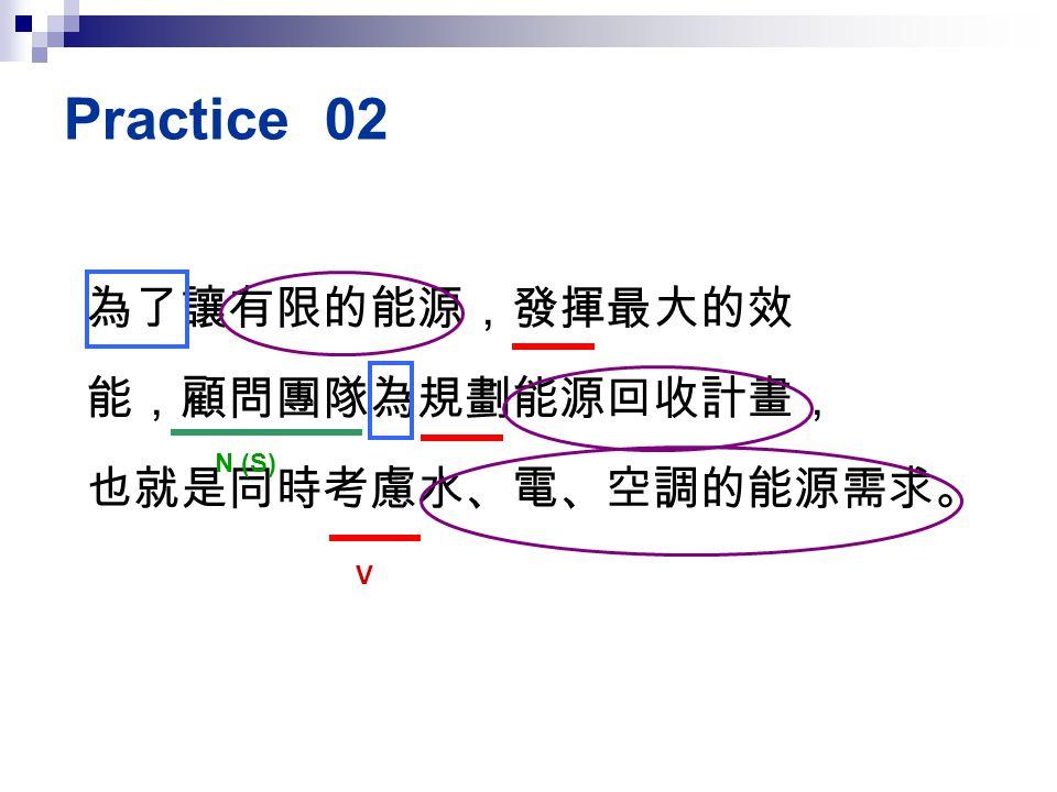 Practice 02 為了讓有限的能源,發揮最大的效 能,顧問團隊為規劃能源回收計畫, 也就是同時考慮水、電、空調的能源需求。 N (S)