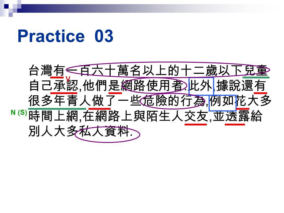 Practice 03 台灣有一百六十萬名以上的十二歲以下兒童自己承認,他們是網路使用者.此外,據說還有很多年青人做了一些危險的行為,例如花大多時間上網,在網路上與陌生人交友,並透露給別人大多私人資料.