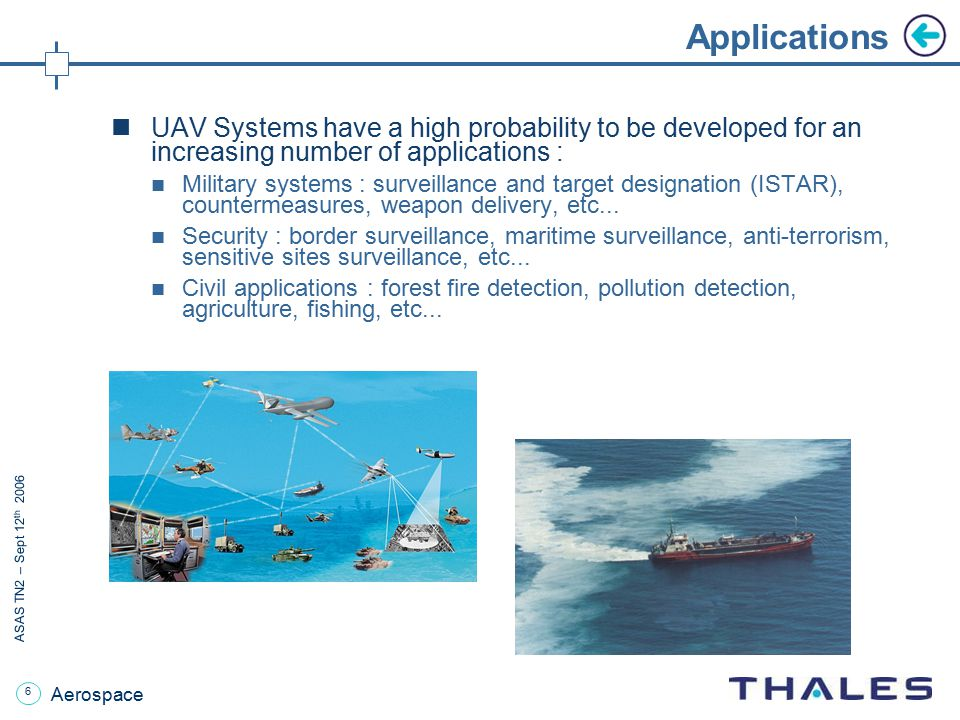 Applications UAV Systems have a high probability to be developed for an increasing number of applications :