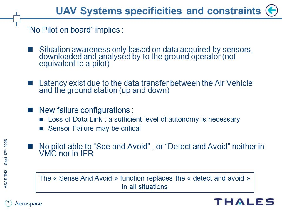 UAV Systems specificities and constraints
