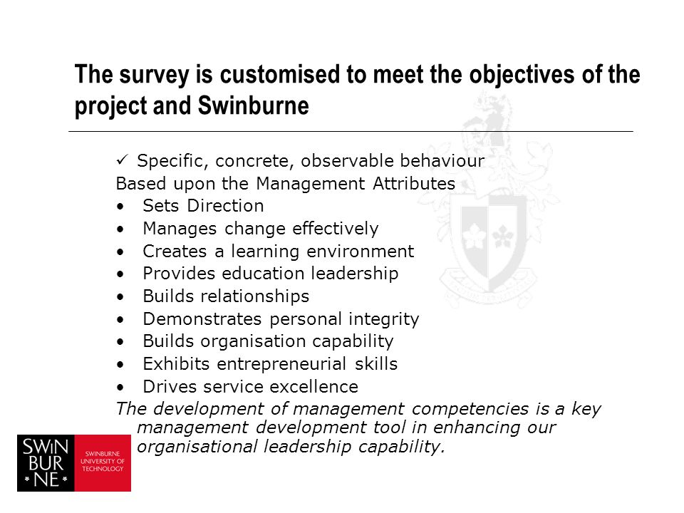 The survey is customised to meet the objectives of the project and Swinburne