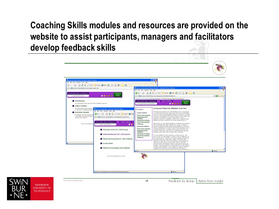 Coaching Skills modules and resources are provided on the website to assist participants, managers and facilitators develop feedback skills