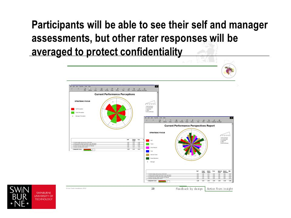 Participants will be able to see their self and manager assessments, but other rater responses will be averaged to protect confidentiality
