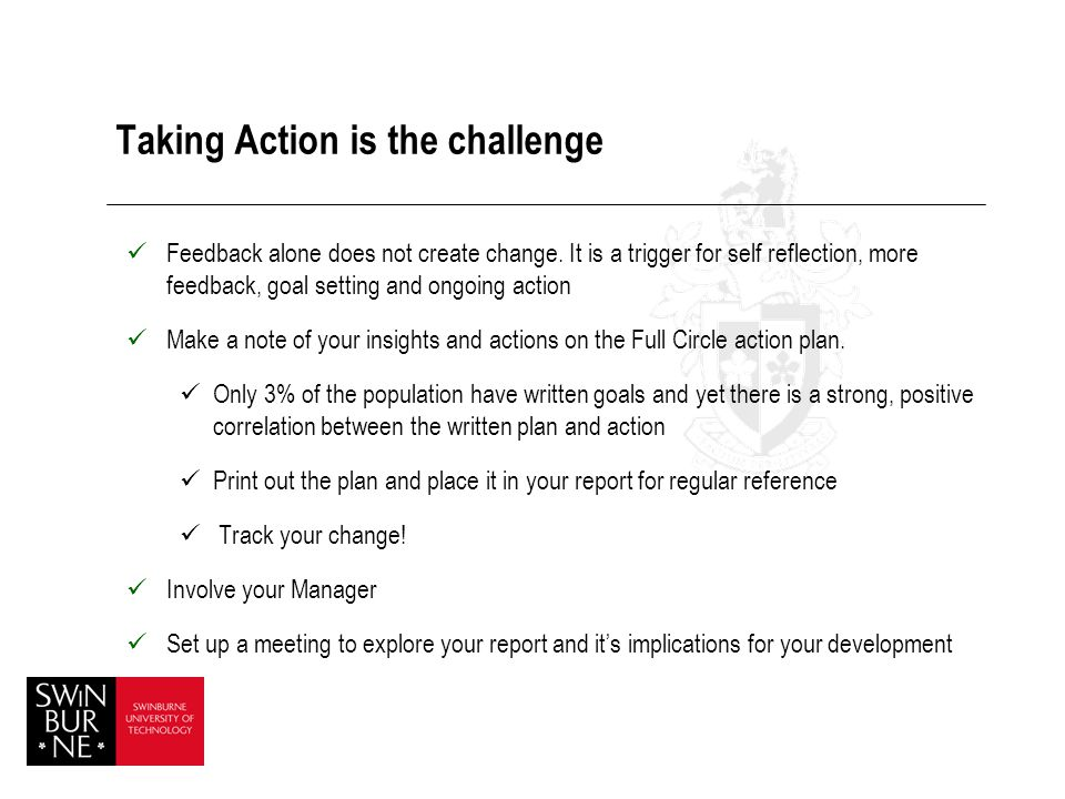Taking Action is the challenge