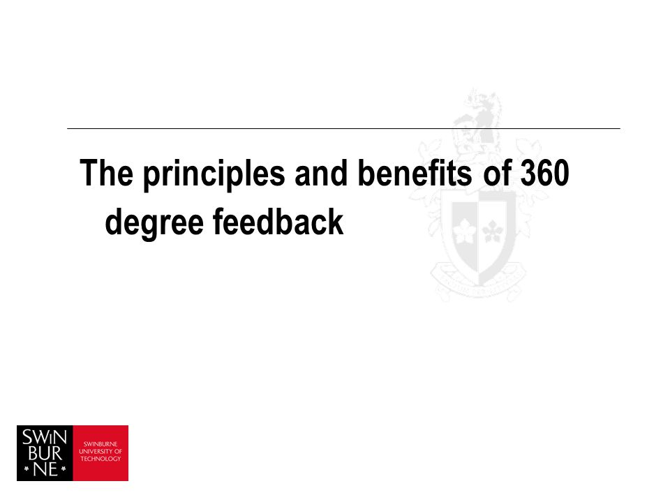 The principles and benefits of 360 degree feedback