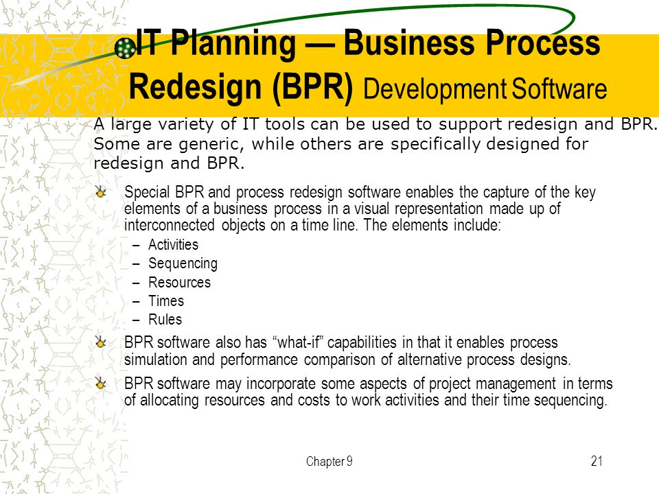 tools to support bpr Business process reengineering (bpr) began as a private sector technique to  help  bolder in using this technology to support innovative business processes,  rather  benchmarking is a key tool for performance improvement because it.