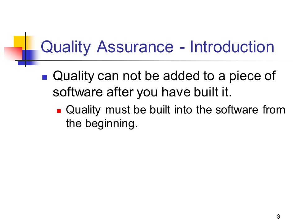Quality Assurance - Introduction