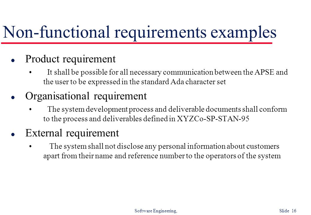 Non-functional requirements examples
