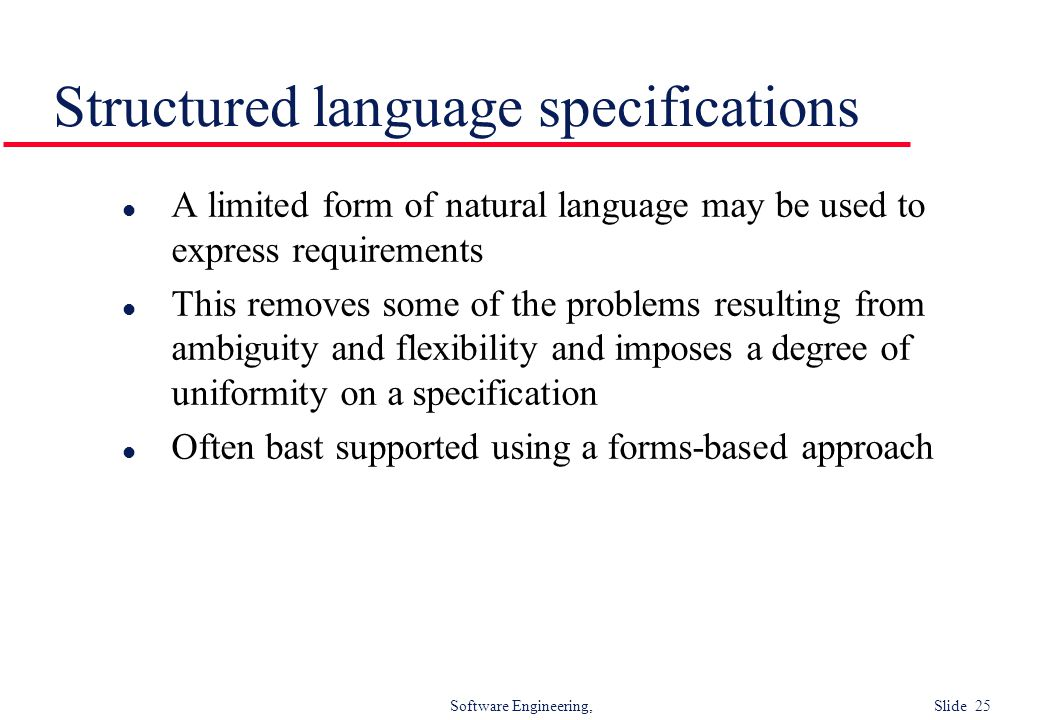 Structured language specifications