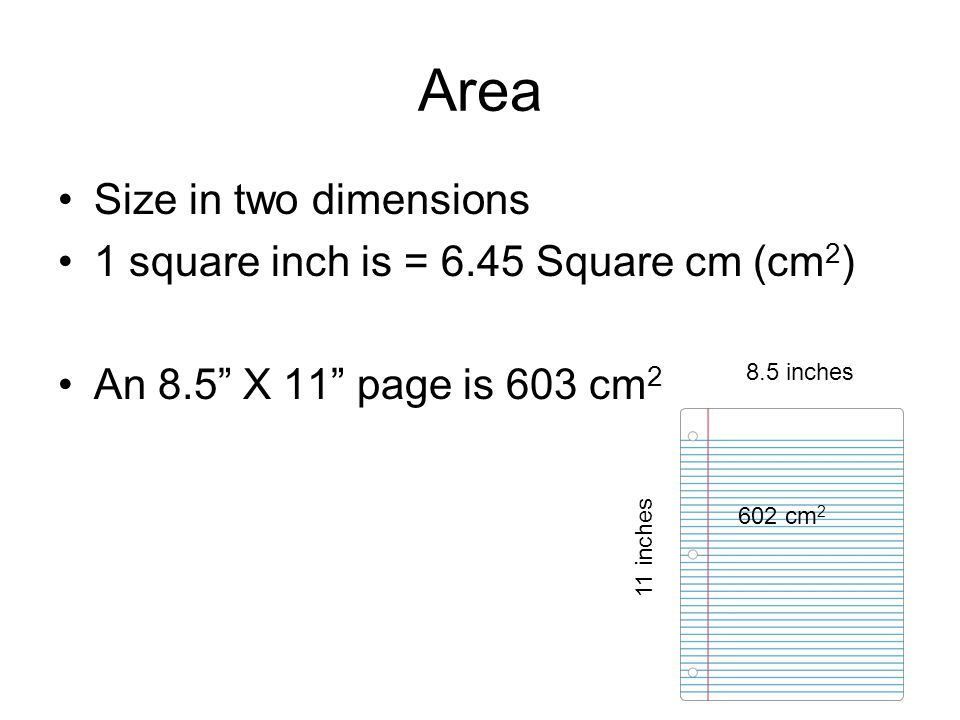 Area Size in two dimensions 1 square inch is = 6.45 Square cm (cm2)