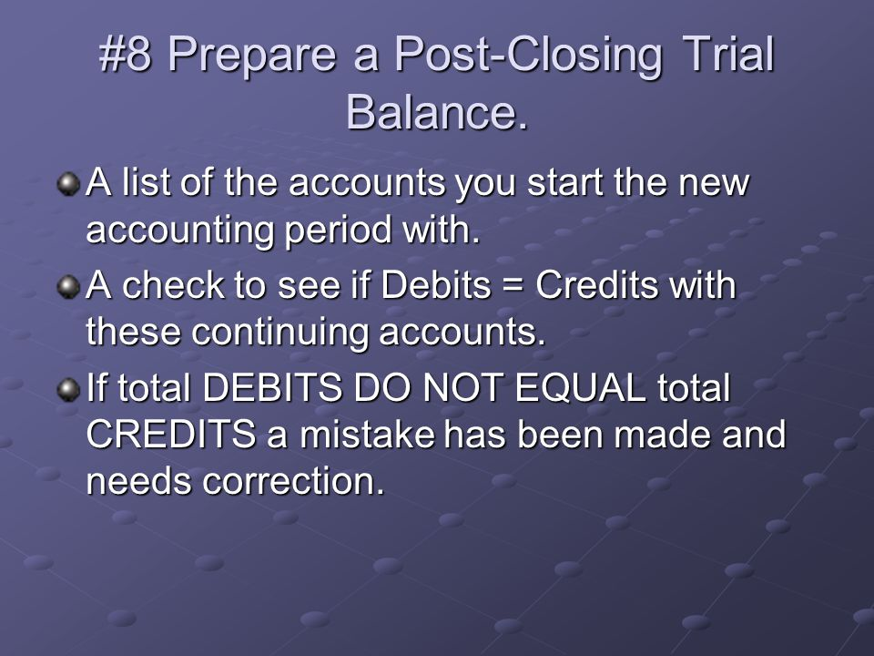 how to prepare a post closing trial balance