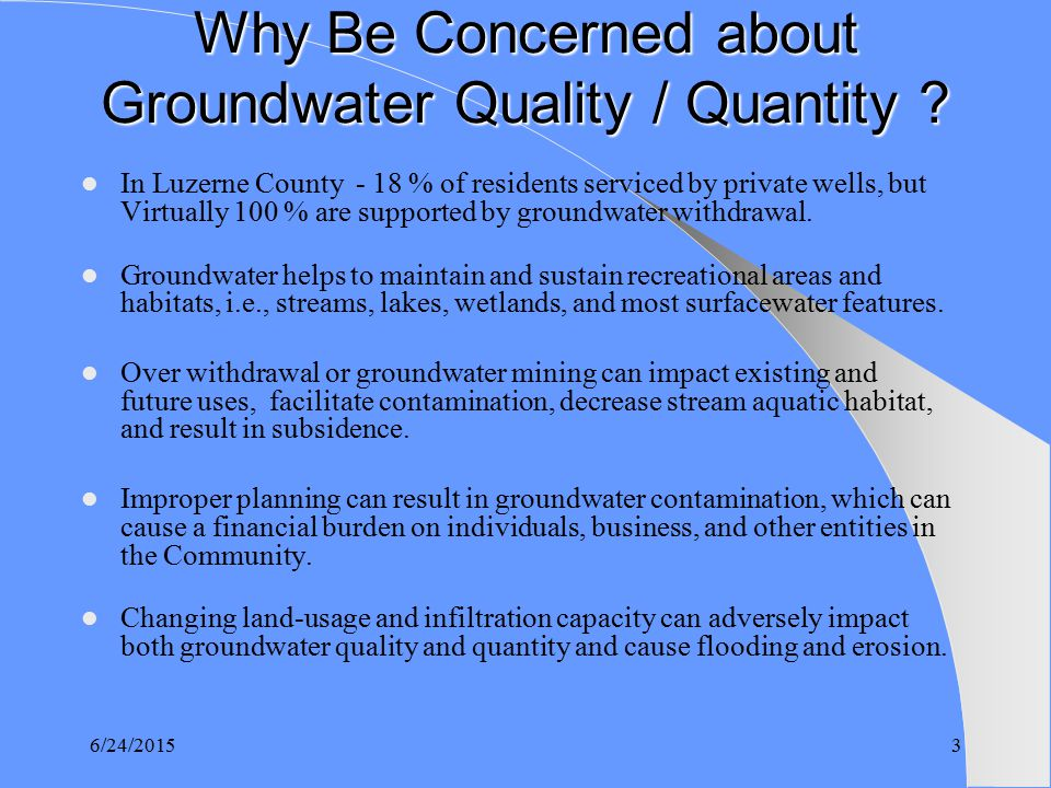 groundwater quality and quantity essay Critical controls on groundwater quantity, quality and flow regime with the exception of the so-called 'karst' conditions characteristic of limestone areas.