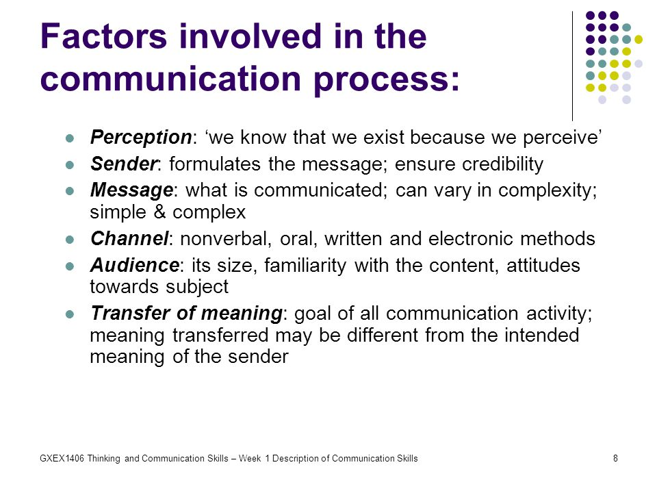factors that affect the communication process essay Generally speaking, the role of communication in health and social care is really important as it involves the application of the proper communication skills, deals with various factors that influence the effectiveness of communication process and reflects the use of information and communication technology in health and social care settings to.