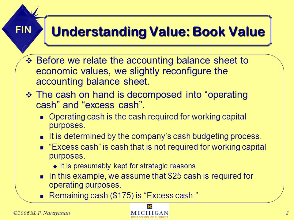 the value of excess cash and Enterprise value = equity value + net debt  does adding debt and subtracting  cash increase a company's value  $100 equity value, $10 excess cash.