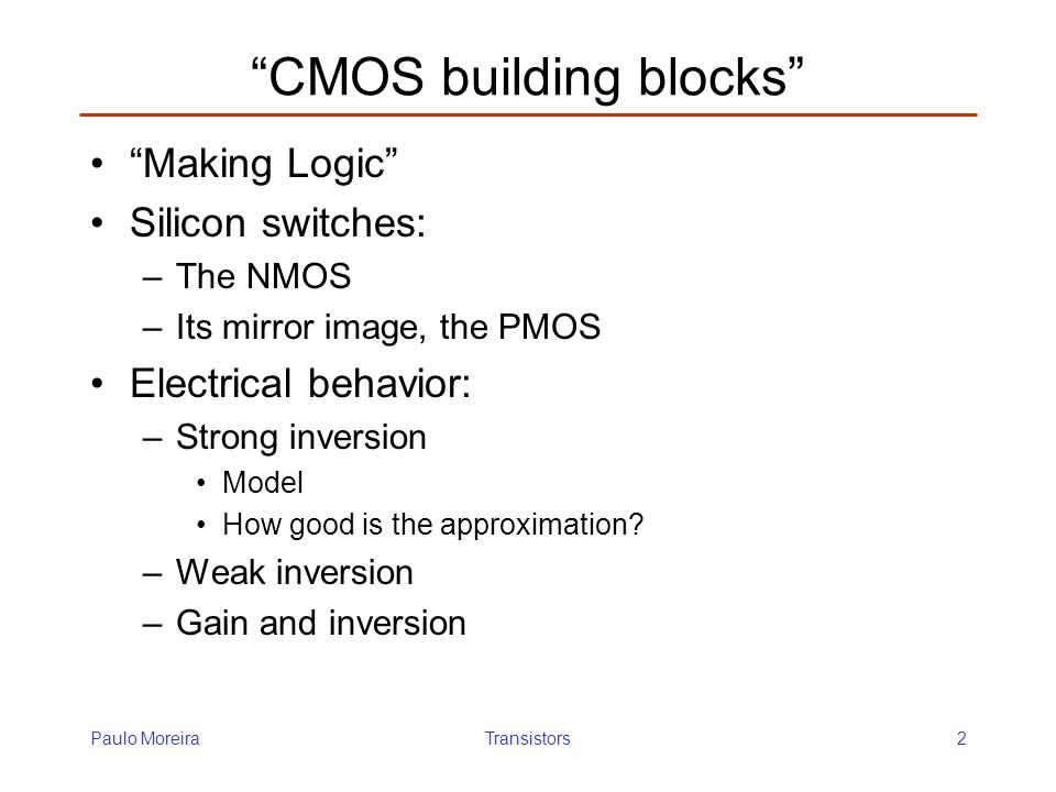 CMOS building blocks