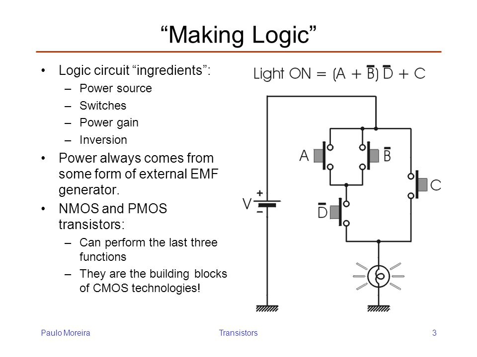 Making Logic Logic circuit ingredients :