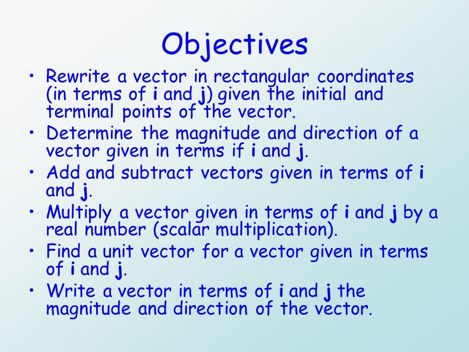 Subtracting vectors in rectangular form