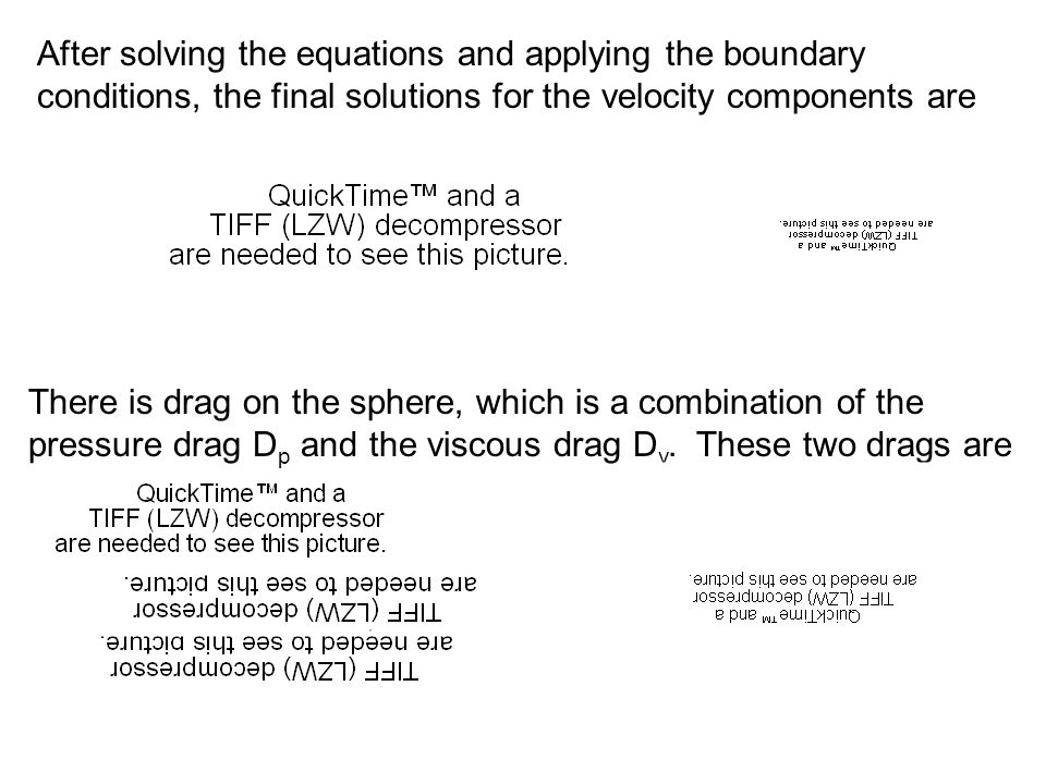 After solving the equations and applying the boundary conditions, the final solutions for the velocity components are