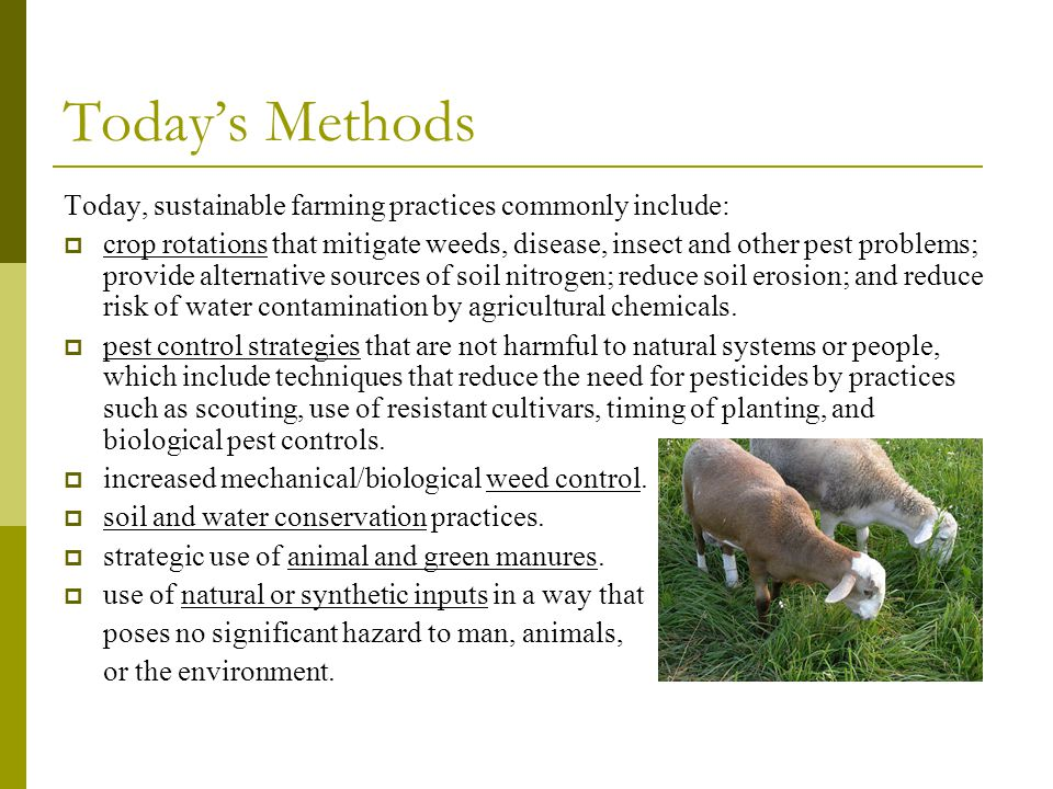 Today's Methods Today, sustainable farming practices commonly include: