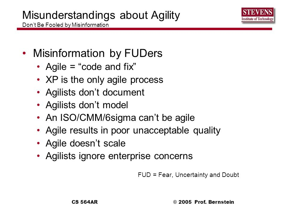 Misunderstandings about Agility Don't Be Fooled by Misinformation