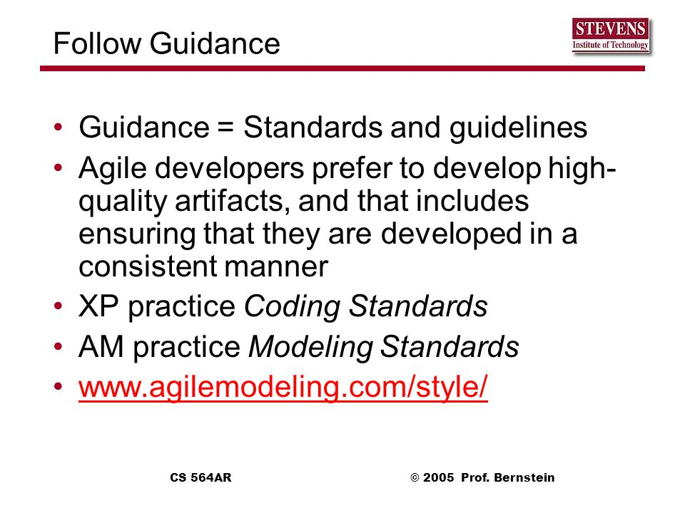 Guidance = Standards and guidelines