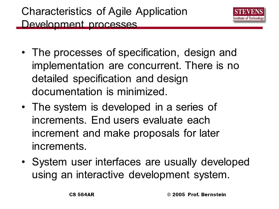 Characteristics of Agile Application Development processes