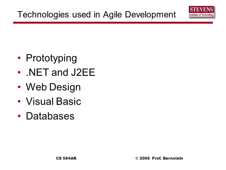 Technologies used in Agile Development