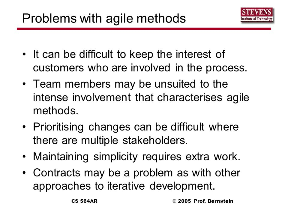 Problems with agile methods