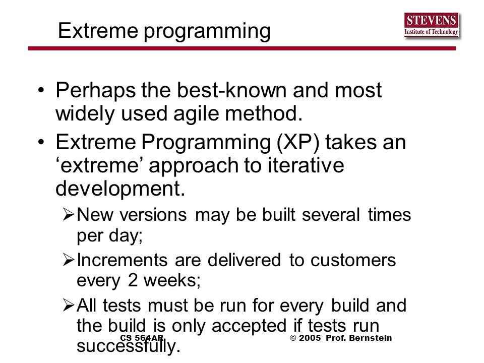 Perhaps the best-known and most widely used agile method.