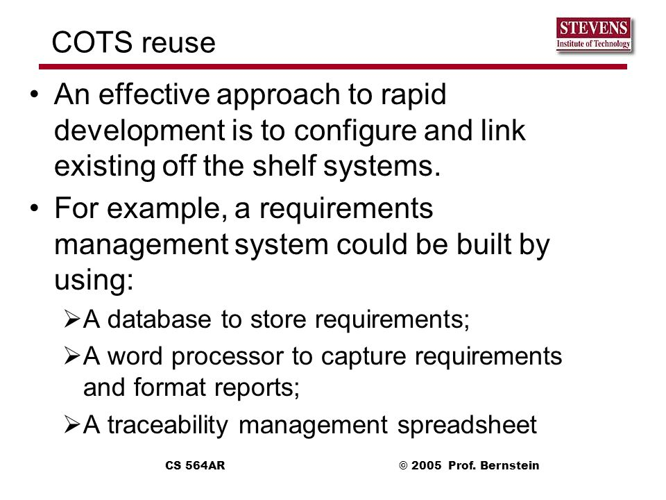For example, a requirements management system could be built by using: