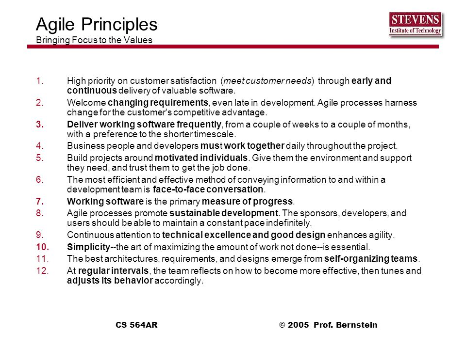 Agile Principles Bringing Focus to the Values
