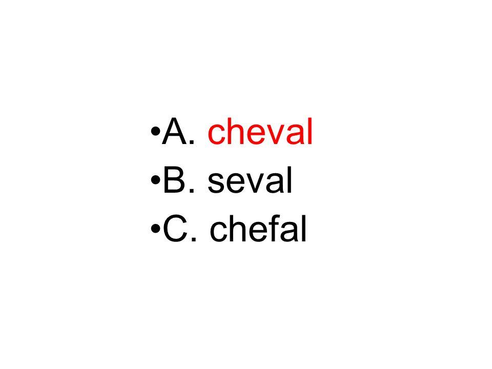 A. cheval B. seval C. chefal