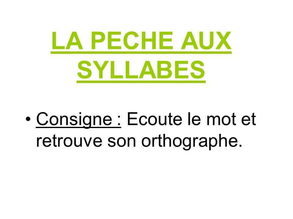 LA PECHE AUX SYLLABES Consigne : Ecoute le mot et retrouve son orthographe.