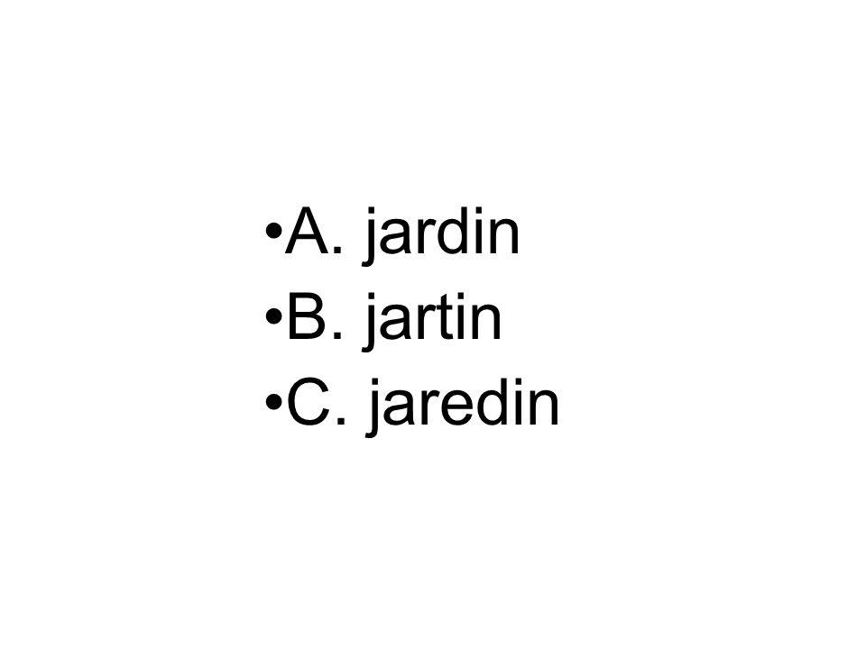 A. jardin B. jartin C. jaredin