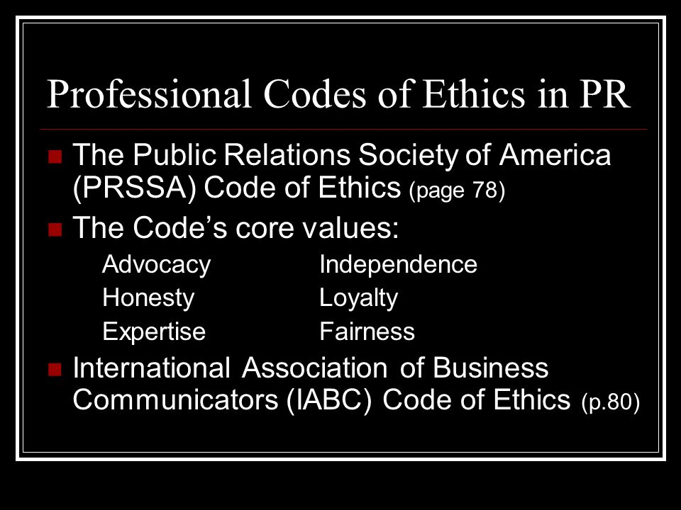 Professional Codes of Ethics in PR