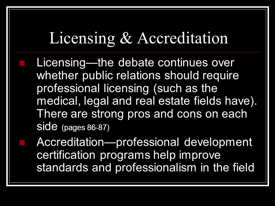 Licensing & Accreditation