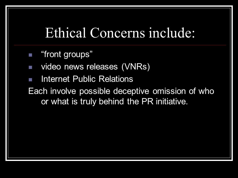 Ethical Concerns include: