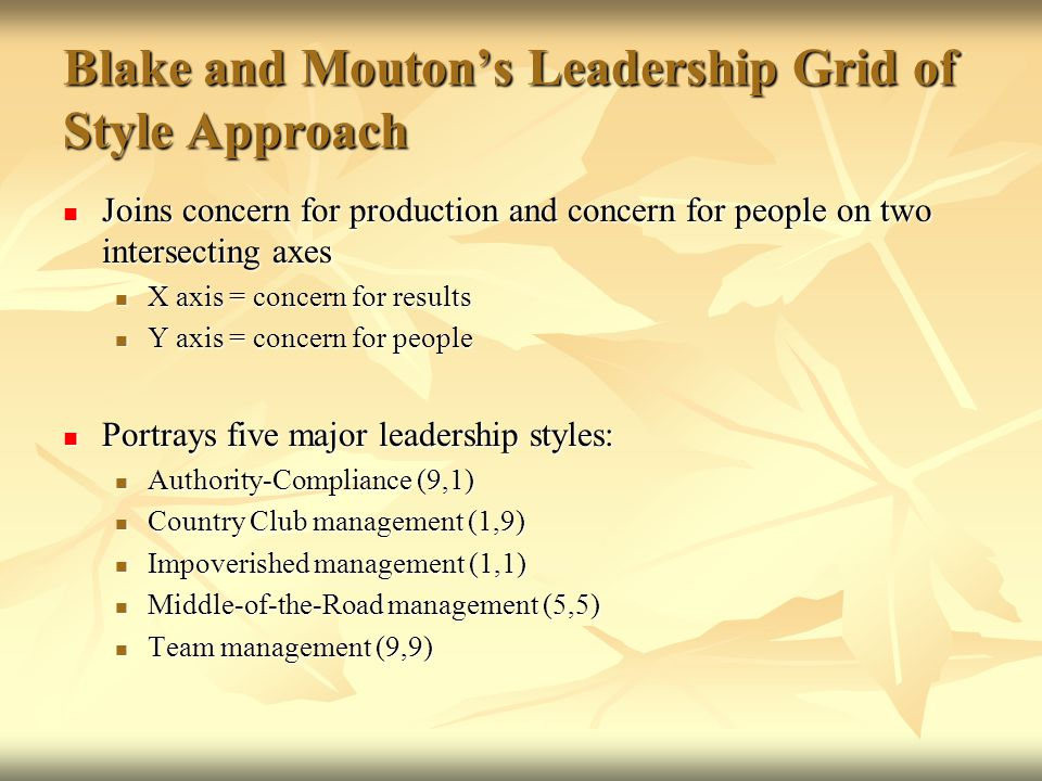 blake and mouton Abstract: this article explains the concept of the managerial grid and the various styles of leadership as enunciated by the authors blake and mouton this is a very effective and practical model to study leadership and many organization development programs are modeled on this theory.