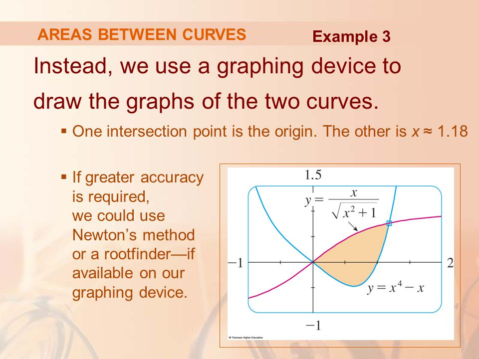 AREAS BETWEEN CURVES Example 3. Instead, we use a graphing device to draw the graphs of the two curves.