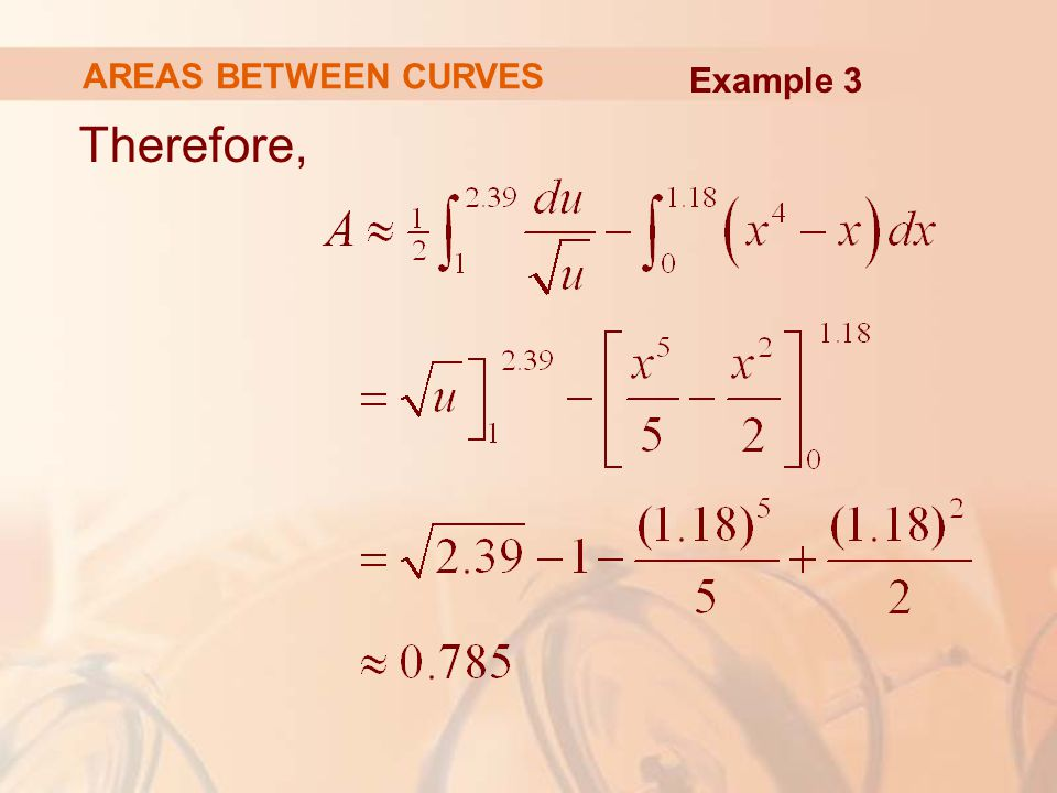 AREAS BETWEEN CURVES Example 3 Therefore,