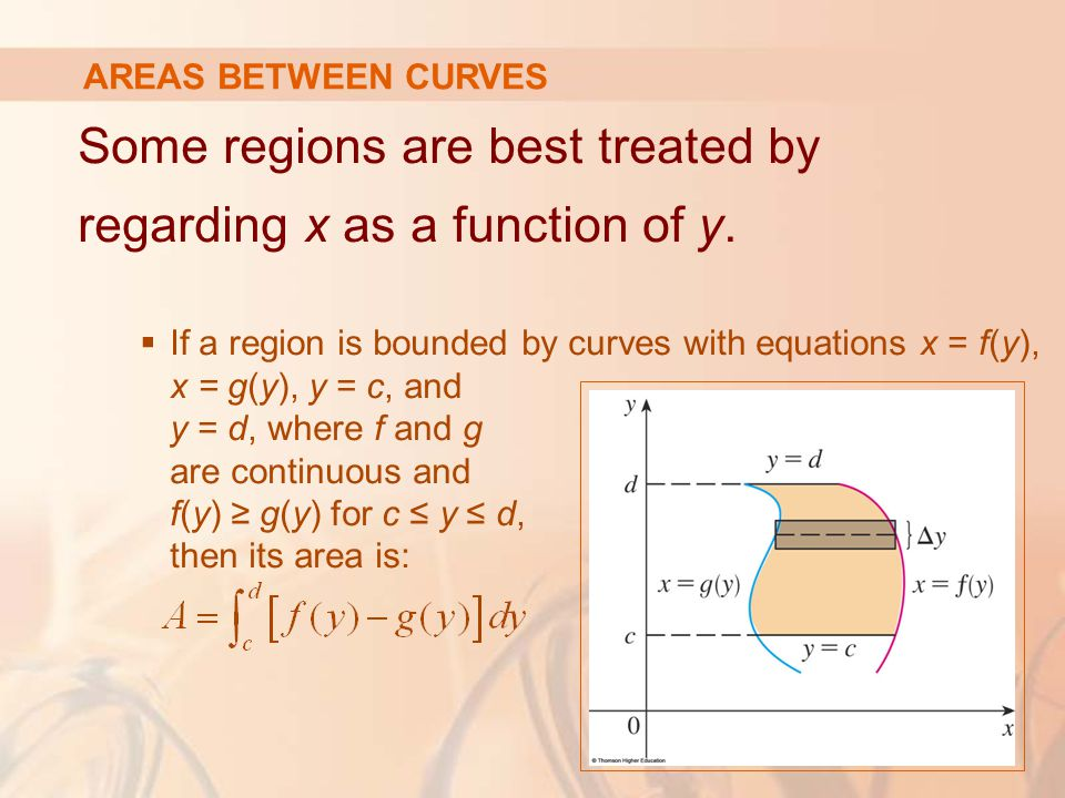 Some regions are best treated by regarding x as a function of y.