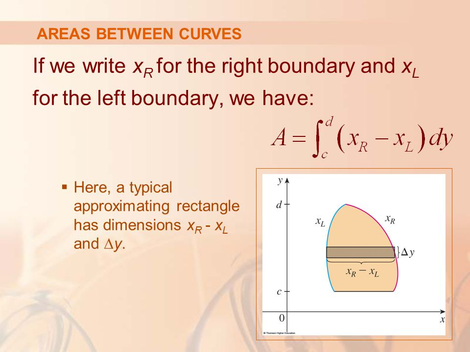 AREAS BETWEEN CURVES If we write xR for the right boundary and xL for the left boundary, we have: