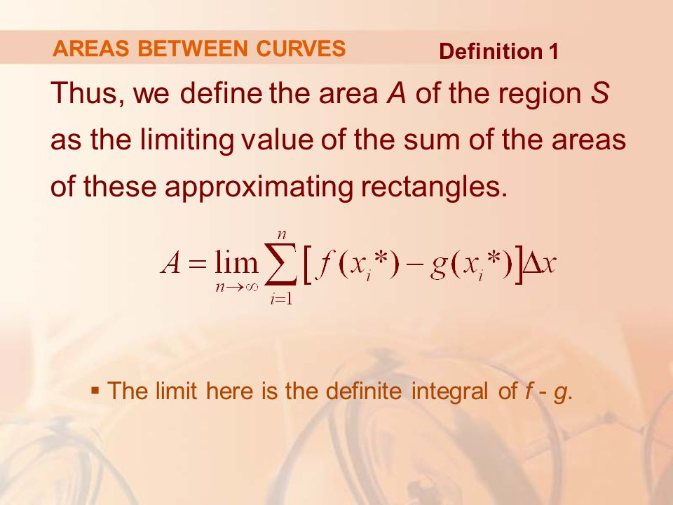 AREAS BETWEEN CURVES Definition 1.