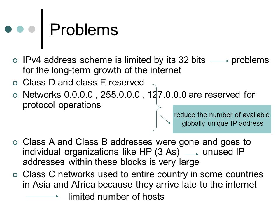 Problems IPv4 address scheme is limited by its 32 bits problems for the long-term growth of the internet.