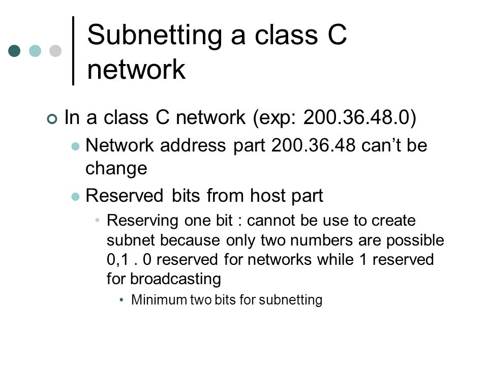 Subnetting a class C network