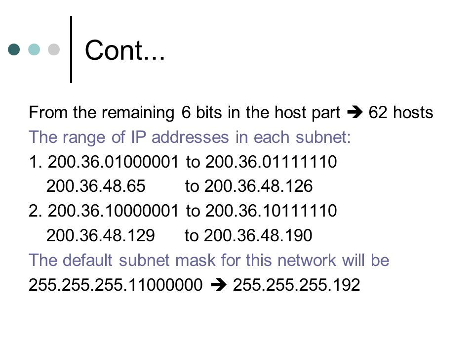 Cont... From the remaining 6 bits in the host part  62 hosts