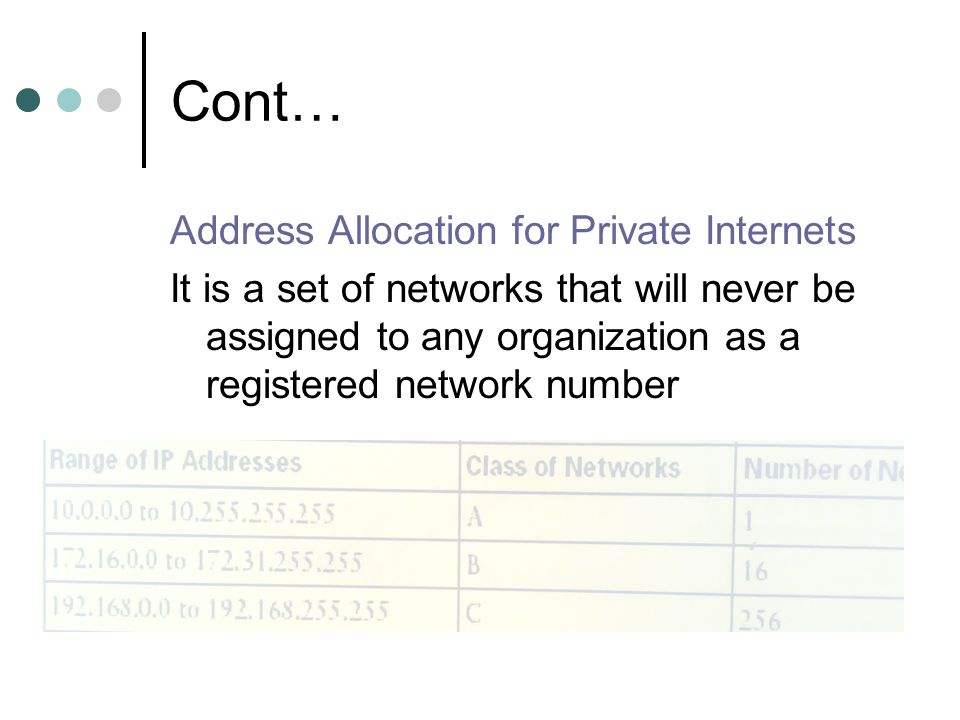 Cont… Address Allocation for Private Internets